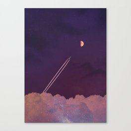 Sparkling clouds against purple starry background with moon, airplane, aircraft contrails and vapour trails Canvas Print