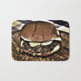 cheeseburger with bacon bits Bath Mat