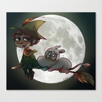 moomin Canvas Prints featuring Moon-min by lemonteaflower