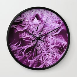 White Ice Crystals On A Purple Background #decor #society6 #homedecor Wall Clock