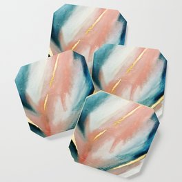 Celestial [3]: a minimal abstract mixed-media piece in Pink, Blue, and gold by Alyssa Hamilton Art Coaster