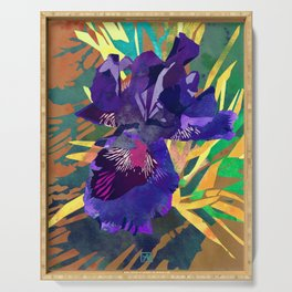 Watercolor Iris Flower with Shadows - Deep Purple Serving Tray