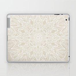 White Lace Mandala on Antique Ivory Linen Background Laptop & iPad Skin