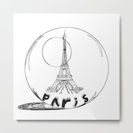 paris in a glass ball . Black-and-white . Artwork . Metal Print