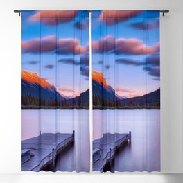 Canada Photography - Dock By The Lake And Beautiful Landscape Blackout Curtain