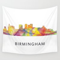 alabama Wall Tapestries featuring Birmingham, Alabama Skyline WB1 by Marlene Watson