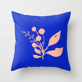 Pink Wildflowers On Cobalt Blue Throw Pillow