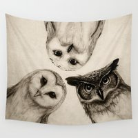 wall clock Wall Tapestries featuring The Owl's 3 by Isaiah K. Stephens