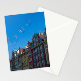 Summer soap bubbles in the city Stationery Cards