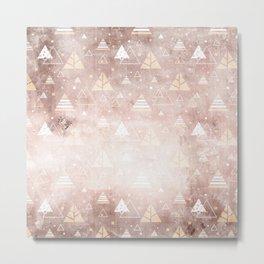 Abstract Blush Concrete Mountain Dreamscape Pattern Metal Print