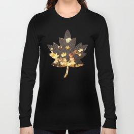 Gold yellow maple leaves autumn asphalt road Long Sleeve T-shirt