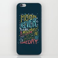 river song iPhone & iPod Skins featuring MOON RIVER by Matthew Taylor Wilson