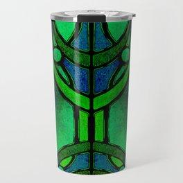 Green and Aqua Art Nouveau Stained Glass Art Travel Mug