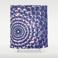 moon phases Shower Curtains featuring Moon Phases by Cina Catteau
