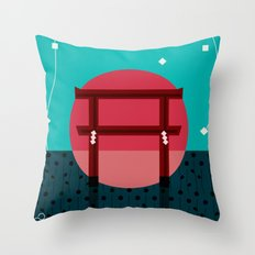 Snowing Sunset Throw Pillow