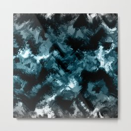 Abstract Black blue pattern Metal Print