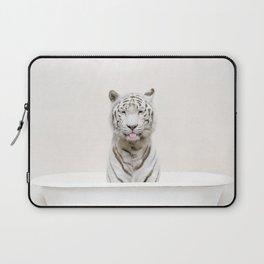 Not Serious White Tiger Bath (c) Laptop Sleeve