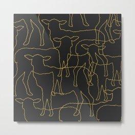 Sheeps- Yellow graphic on dark grey Metal Print