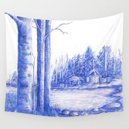 Blue Retreat Wall Tapestry