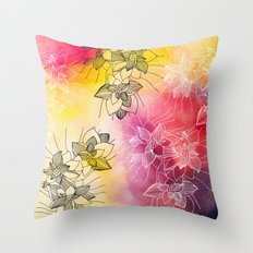 Inked Flowers on Watercolor Throw Pillow