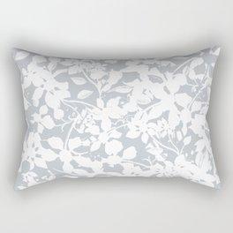 White and Grey Botanical Silhouette Pattern - Broken but Flourishing Rectangular Pillow