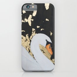 Rose the White Swan - Black - Gold iPhone Case