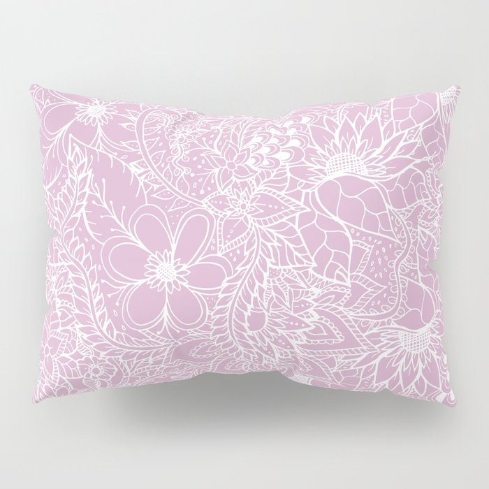 Modern trendy white floral lace hand drawn pattern on mauve pink lavender Pillow Sham