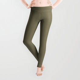 Cheap Solid Dark Army Brown Color Leggings