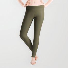 Cheap Solid Dark Army Brown Color Leggings