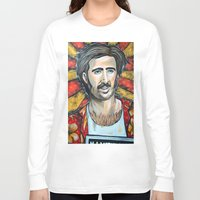 nicolas cage Long Sleeve T-shirts featuring Raising Arizona Nicolas Cage by Portraits on the Periphery
