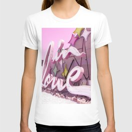 "Pink ""In Love"" Sign at the Neon Museum in Las Vegas, Nevada T-shirt"