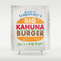 tarantino Shower Curtains featuring Big Kahuna Burger by Nxolab