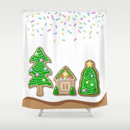 Merry Christmas Poster with Gingerbread House and Christmas Tree Shower Curtain