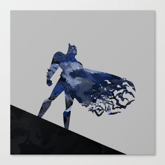 Bat man  Dark blue hero Knight comic digital brush Canvas Print