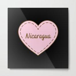 I Love Nicaragua Simple Heart Design Metal Print