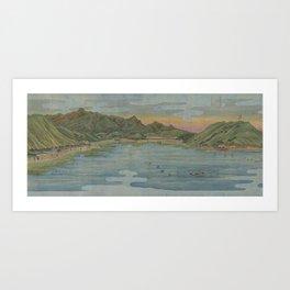 Lake view 2. Ukiyoe Landscape Art Print