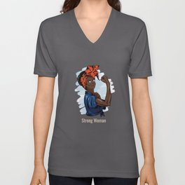 Strong black African Woman Fighting Female Afro-American Design Unisex V-Neck