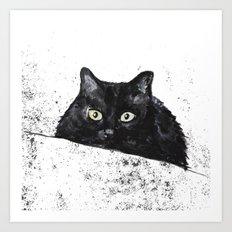 black cat yellow eyes Art Print