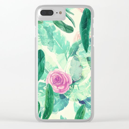 clean pink flowers and leaves Clear iPhone Case