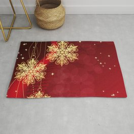 Pretty Christmas Ornaments Red Gold Holiday Decor Rug