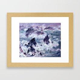 Monet : Storm At Belle Ile Framed Art Print