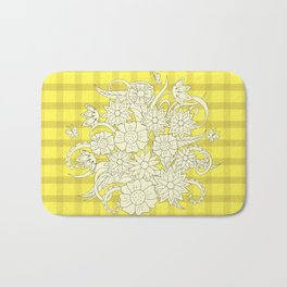 yellow lines pattern with bouquet Bath Mat