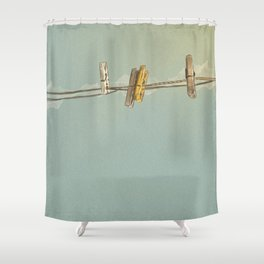 Vintage Clothespin Shower Curtain