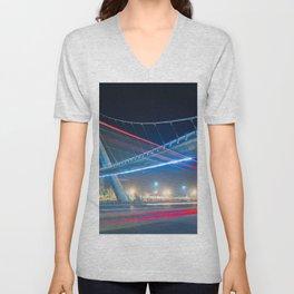 Bridge blue red night Unisex V-Neck