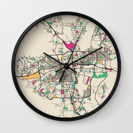 Colorful City Maps: Reno, Nevada Wall Clock