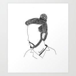 Not a Man Bun Art Print