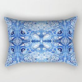 Blue and White Batik Pattern Rectangular Pillow