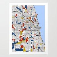 mondrian Art Prints featuring Chicago Mondrian by Mondrian Maps