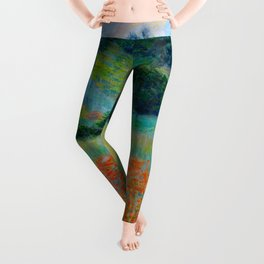 Claude Monet Impressionist Landscape Oil Painting Poppy Field in a Hollow near Giverny Leggings