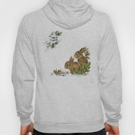 Winter in the forest - Animal Bunny Illustration Hoody